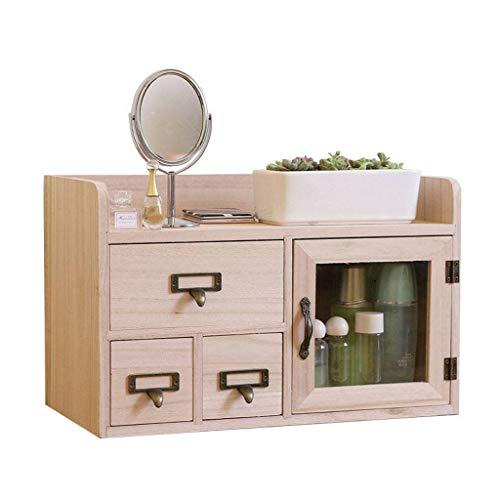 HUOLEO Holz Multifunktions Make-up Organizer, Schubladen Große Kapazität Desktop Schminke Aufbewahrungsbox Für Schminktisch Für Büro-40X20X25cm