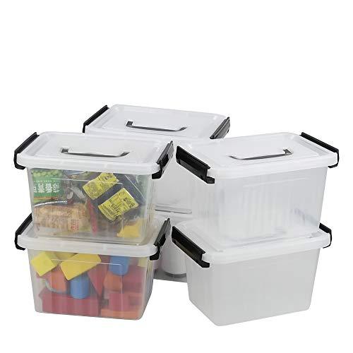 Asking Plastic Latching Box with Black Handle Lidded Storage Bins 6 Packs 3 Quart