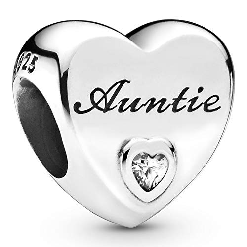 Pandora Jewelry Auntie Love Heart Cubic Zirconia Charm in Sterling Silver