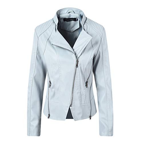Donna Ecopelle Pu Giacca da Moto Outwear Colore Solido Manica Lunga Risvolto Cerniera Giubbotto Cappotto Azzurro M