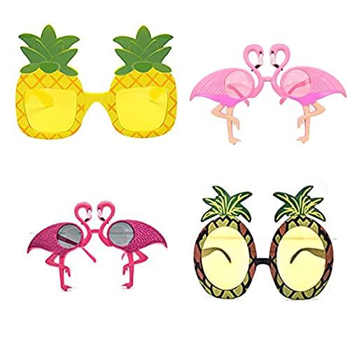 4 Pares Gafas divertidas de fiesta, de Gafas de Sol de Fiesta de Novedad, Tropical Fiesta Gafas de Sol, Vasos con forma de piña y flamenco, Adecuado para decoración de fiestas divertidas