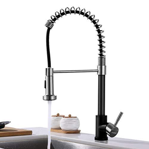 KAIBOR Grifo de cocina de acero inoxidable con resorte espiral extensible con accesorio de rociado extraíble para fregadero de cocina con lavavajillas Negro