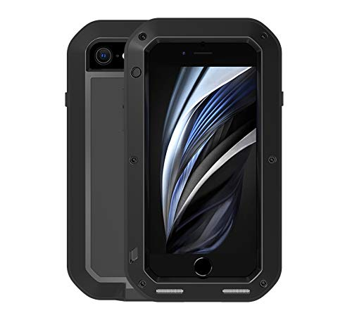 Love MEI Metallo Custodia per iPhone SE/iPhone 7/ iPhone 8,Outdoor Heavy Duty Robusto Alluminio Metallo con Vetro Temperato Antipolvere/Impermeabile/Antiurto 360 Gradi Protettiva Custodia (Nero)
