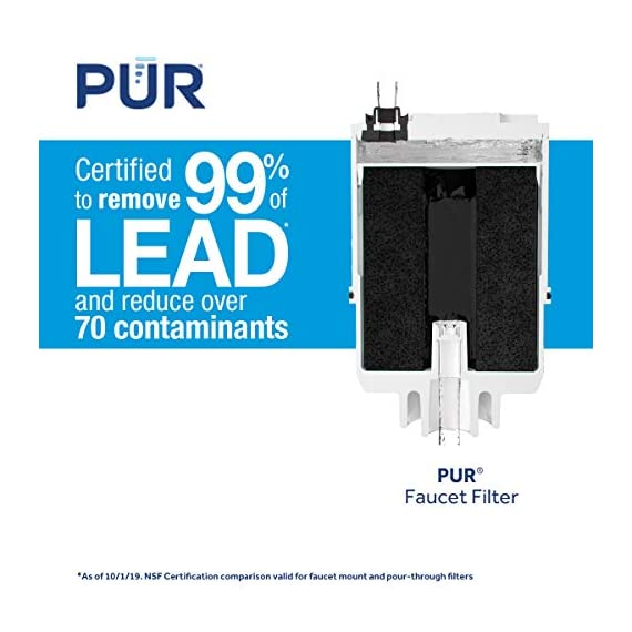 PUR RF3375 Water Filter Replacement for Faucet Filtration Systems, 2 Pack, Multicolor 5 PUR BASIC WATER FILTER REPLACEMENT: PUR's genuine faucet filters are certified to reduce over 70 contaminants, including 99% of lead, so you know you are drinking cleaner, great-tasting water FAUCET WATER FILTER: PUR faucet filters provide 100 gallons of filtered water, or 2-3 months of typical use, before you need a replacement. Only PUR faucet filters are certified to reduce contaminants in PUR faucet filter systems WHY FILTER WATER? Home tap water may look clean, but may contain potentially harmful pollutants & contaminants picked up on its journey through old pipes. PUR water filters, faucet filtration systems & water filter pitchers reduce these contaminants