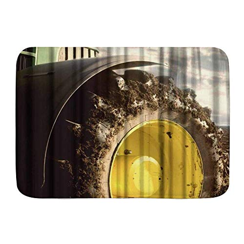 AoLismini Alfombra de baño, Ruedas de Tractor agrícola de Agricultura Fresca, alfombras de decoración de baño de Felpa con Respaldo Antideslizante