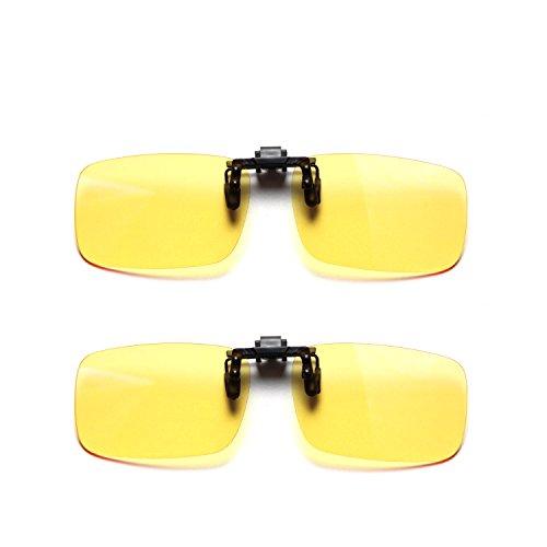 Cyxus (2 pezzi) Filtro blu chiaro clip-on Computer Occhiali da lettura, UV Blocking Anti Strain occhi unisex Eyewear 2 grandi dimensioni lente gialla