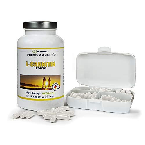 L-CARNITIN, 400 Kapseln, INKLUSIVE PILLENBOX, für 3000mg Tagesportion, L-Carnitine hochdosiert Kapseln, 100% Vegan, beliebt bei der Diät, Abnehmen, Fettverbrennung, Fatburner, Definitionsphase!
