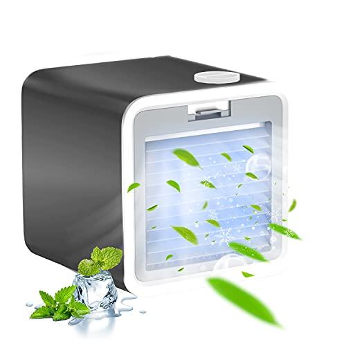 Mini Climatiseur Mobile, VAZILLIO 3-en-1 Refroidisseur d'Air - Humidificateur d'Air - Ventilateur de Climatisation Portable Silencieux, 3 Vitesse, Chargement USB pour Bureau, Maison - Noir