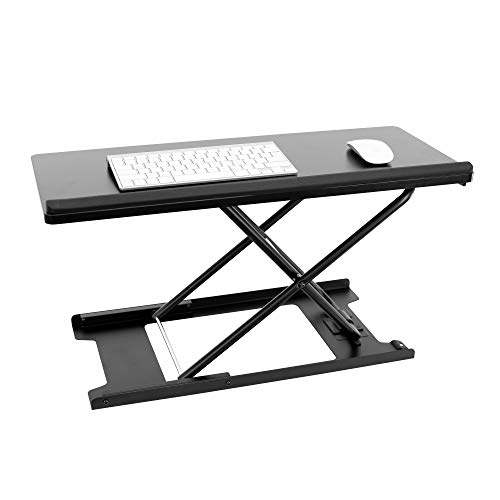 MOUNT-IT! Standing Keyboard Lift [27 inches Heavy Duty] Adjustable Height to Raise Keyboards, Ergonomic Sit Stand Riser, Workstation Tray for Computer Desktop, Laptop Home Office Desk (Black)