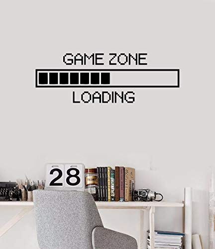 Vinyl Wall Decal Game Zone Loading Wall Sticker Home Decor Gamer Room Wall Mural Boys Bedroom Decoration Wall Stickers AY1010 (17x48', Black)