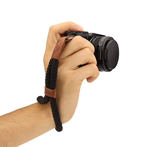 MegaGear, Correa de Mano para cámara (algodón, tamaño pequeño), Color Negro