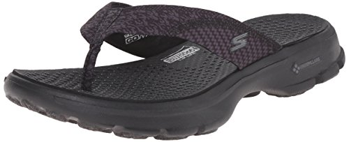 Skechers Performance Womens Go Walk Pizazz Flip Flop,Black,8 M US