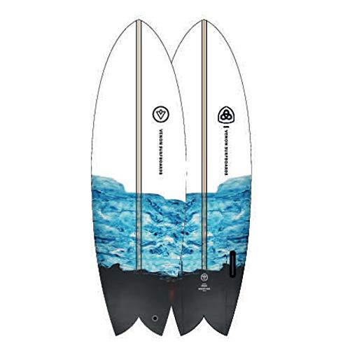 Venon Node twinfin Retro Fish Tabla de Surf - Blue/White, 5.11 FT