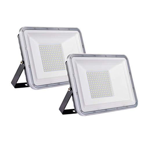 2 Pack 100W Proyector LED exterior IP67 Impermeable Foco exterior 10000 lumen Blanco frío 6500K Iluminación Led Floodlight para jardín garaje estacionamiento almacén Iluminación del paisaje