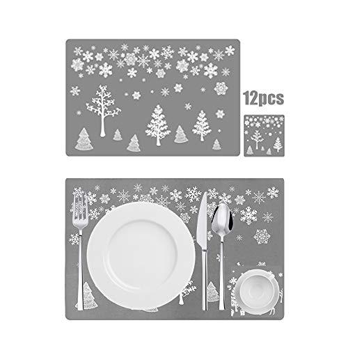 Anyingkai 12PCS Weihnachtstisch Sets,PVC tischmatte,Platzset Weihnachten Abwaschbar,Weihnachten Tischsets,Weihnachtstischmatte,Weihnachtstisch platzset (Silberner Baum)