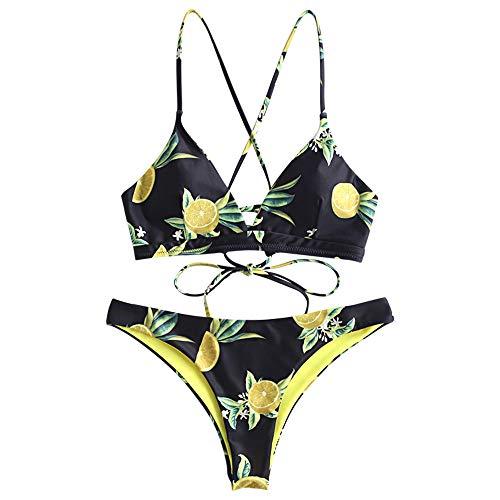 ZAFUL Bikini Orange Print Back Criss Cross Lace-up Swimwear Cute Padded Two Piece Bathing Suits Black M