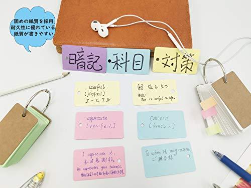 単語帳暗記カード単語カード暗記帳6冊x90枚6色7x4cm付箋100枚×1冊バックアップ用リング×6個まとめてセット