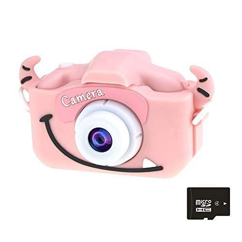 Dibujos Animados Anti-otoño Mini cámara Delantera y Trasera Doble Digital pequeña cámara SLR cámara de Dibujos Animados Lindo Camara Juguetes (Color : Pink Cow 8G)
