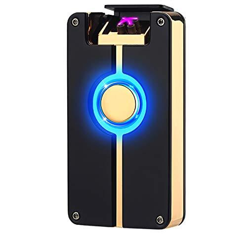 Oumosi Oumosi Flammenloses Lichtbogenfeuerzeug aus Metall, wiederaufladbar, mit USB-Anschluss für Heimgebrauch schwarz / goldfarben Schwarz / Goldfarben