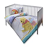 100% Organic Cotton Soft and Healthy Baby Cot Bed Duvet Cover Set 4 Pieces, Winnie The Pooh Hunny Officially Licensed Bedding Set