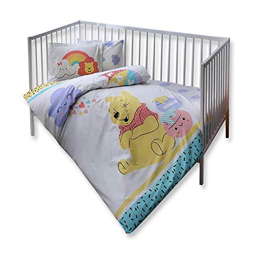 100% coton bio doux et Sain Lit pour bébé Housse de couette Lot de 4 pièces, Parure de lit de Winnie l'Ourson Hunny Produit sous licence officielle