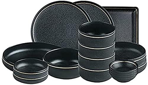 Juego de Platos, 21 PCS Conjuntos de vajilla, Creatividad Conjunto de vajillas de porcelana con platos Cuencos y plato, Lado de oro negro Cena de cerámica Set para cocina y comedor, Servicio para 4 pe