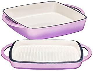 2 in 1 Enameled Cast Iron 11 Inch Square Casserole Baking Pan With Griddle Lid 2-Casserole dish-Casserole dish with lid-Ca...