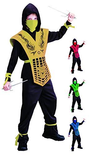 Foxxeo schwarz goldenes Ninja Kostüm für für Jungen schwarzes Ninjakostüm Kinderkostüm Größe 122-128