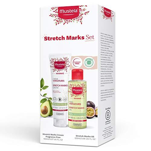 Mustela Maternity Stretch Marks Set - Fragrance-Free Stretch Marks Cream & Stretch Marks Oil - with Natural Ingredients - 2 Items Set, 2 ct.