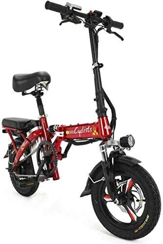 Bicicletas Eléctricas, Bicicletas eléctricas rápidas for adultos Bicicletas plegables portátiles de batería de litio desmontable 48V 400W Adultos Bicicletas Doble Amortiguador con los neumáticos de 14
