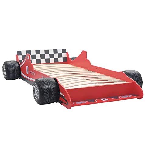Cama Infantil Diseño Coche, Cama Individual con Forma de Coche de Carreras para Niños, Roja 90 x 200 cm