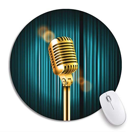 Rundes Mauspad Retro Bühnenvorhänge Glänzendes Mikrofon Standup Comedy Show Apartment Rutschfeste Gummibasis Mausmatte Gaming Mousepad für Computer
