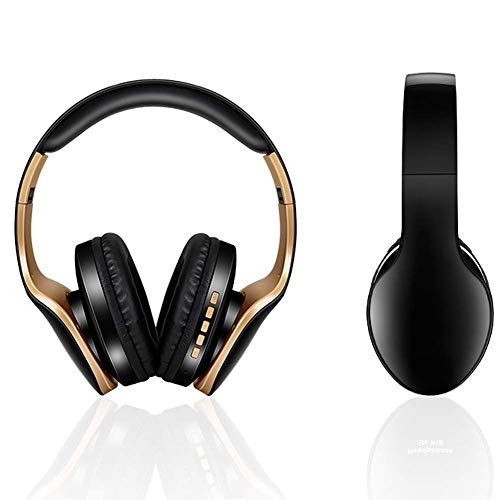 YAJIWU Headphones, Over Ear Stereo Wireless Headset, Playtime With Deep Bass, Soft Memory-protein Earmuffs, Built-in Mic Wired Mode PC/Cell Phones/TV (Color : Black)