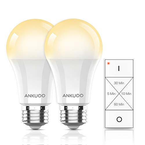 Smart Light Bulbs Remote Control by Ankuoo, Dimmable and Timing LED Light Bulb with Wireless Light Switch, E26 LED BulbScrew Base Warm White LED Bulbs,165 ft Range, 4 Timing,3 Way,No Hub Required