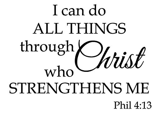 Newclew I can do All Things Through Christ who Strengthens me Inspiration Wall Art Sayings Vinyl Sticker D