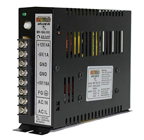 RetroArcade.us 15 Amp Arcade Switching Power Supply 110 Watt, 110/220v for Video Game Cabinets Including Upright and Cocktail