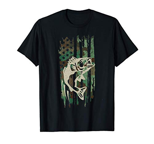 Camouflage American Flag Bass Fishing Gift T Shirt Tshirt T-Shirt