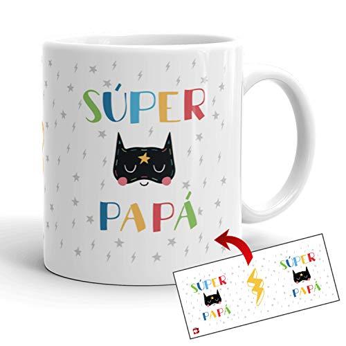 Kembilove Tazas de Familia – Originales Tazas de Desayuno para Toda la Familia – con Mensaje Eres un Súper Papá – Tazas de Café para Hombres y Mujeres – Regalos Originales para Familiares