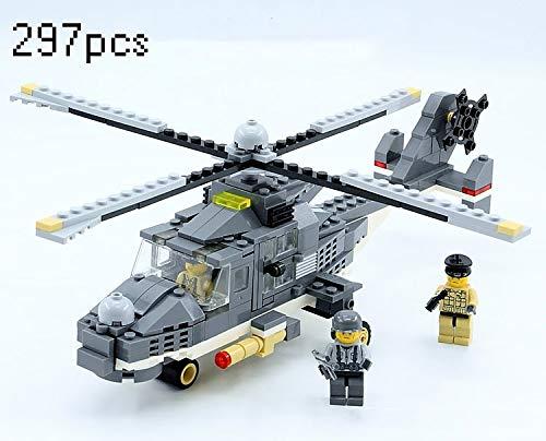 Zenghh 32cm Bausteine Bricks-Flugzeug-Spielzeug unbemannten Helikopter Moderne SWAT Militär-Spielzeug-Geschenk 283pcs Armee Flugzeug CH-53 Modell Kind-Kind-pädagogische DIY Construction Toy Boy