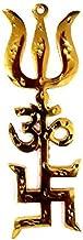 Ramneek jewels Brass Divya Shakti Trishakti Yantra (Swastik Om Trishul) - 3.5''