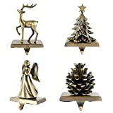 Hotoair 4pcs Christmas Stocking Holders for Mantle Xmas Decoration for Fireplace Mantle Gold Vintage Reindeer Christmas Tree Pine Cones Angel Hanger with Hook (Style3-Blessing)