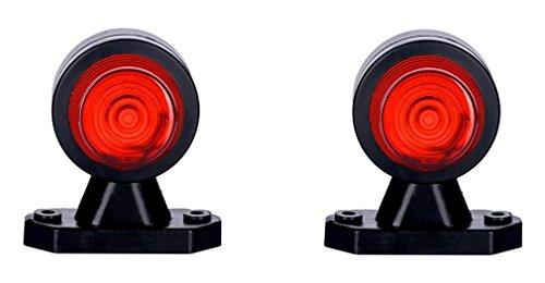 2 x Blanc + Rouge côté marqueur lumière 12 V 24 V Marquage E de voiture camion remorque position lampe Paire Ensemble avant Queue arrière double fonction ampoules universel