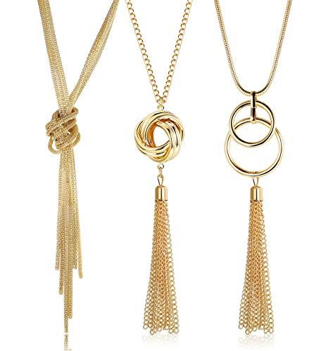 Finrezio 3 Piezas Collar Largos con Colgante para Mujer Collar de Cadena Y Conjunto de Collares de suéter de Moda Dorado