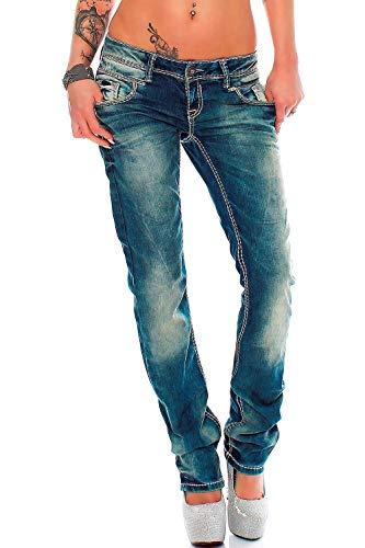 Cipo & Baxx Sexy Damen Jeans Hose Hueftjeans Regular Fit Stretch Roehre Dicke Naht, Blau, W30/L32