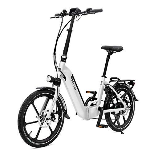 AsVIVA E-Bike B13 Stadtfalter 20 Zoll, Faltrad (17,5Ah Samsung Cell Akku), Klapprad, 7 Gang Shimano Kettenschaltung, Bafang Heckmotor, Scheibenbremsen, weiß