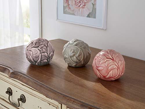3er Set Deko Kugeln aus Keramik, lasiert, Floral Design, Ø 10 cm, Dekokugel