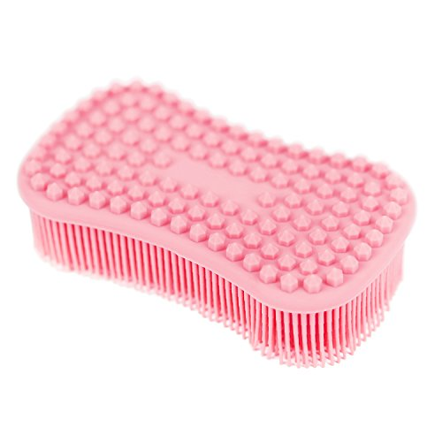 Tophome - Cepillo de limpieza multiusos para cocina, esponja de silicona, para limpieza de ollas, para lavar frutas y verduras, soporte para ollas, Rosa, rosa