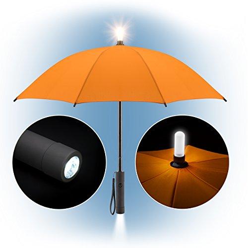 Kinder Regenschirm / Kinderschirm mit LED Taschenlampe & Leuchtspitze für mehr Sicherheit / kindgerechtes Faltsystem, mit Dauer- oder Blinklicht - Signalfarbe Orange