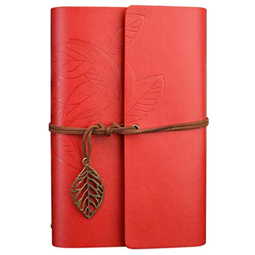45532rr Hwj Creative Retro Autumn Leaves Pattern Loose-leaf Travel Diary Notebook, Size: S (Coffee) (Color : Red)