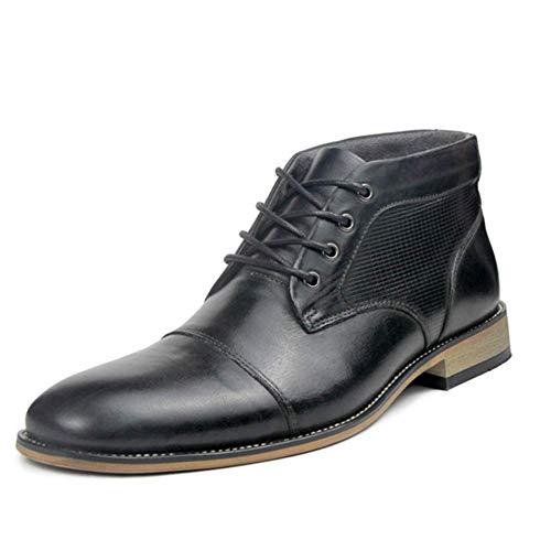 N/P YIGER - Stivali da uomo, in vera pelle, taglia grande 39-47, con lacci, per il tempo libero Chelsea